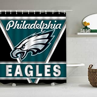 Sorcerer Custom Colourful Philadelphia Eagles American Tootball Team Shower Curtain Polyester Waterproof Proof for Bathroom Decoration Set with Hooks 66x72 Inches