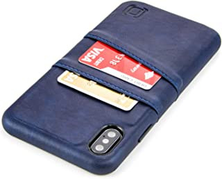Dockem Exec M2 Wallet Case for iPhone Xs Max: Built-in Invisible Metal Plate, Designed for Magnetic Mounting: Slim Synthetic Leather Card Case with 2 Card Holder Slots: M-Series [Navy]
