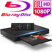 $99 » Tojock 1080P Blu Ray DVD Player HDMI AV Output DTS Sound Effect, Region Free Upscaling TV HD DVD Player 2.0 USB Input, Coaxial Built-in PAL/NTSC System with HDMI AV Cables Remote Control