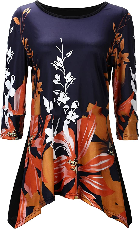 Andongnywell Womens Half Sleeve Floral Printed Tops Round Neck T Shirts Summer Loose Casual Irregular Hem Blouses Tops