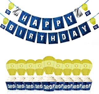Gaming Flag Happy Birthday Banner Cupcake wrappers Cake Topper Paper PUBG Banner Video Game Party Supplies for Boy Kids party favors