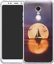 HHDY Xiaomi Redmi 5 Plus Case,[Ultra Lightweight] Reinforced [4-Corners Bumper] Flexible TPU [Pattern Design] Cover for Xiaomi Redmi 5 Plus,Sailboats & Moon