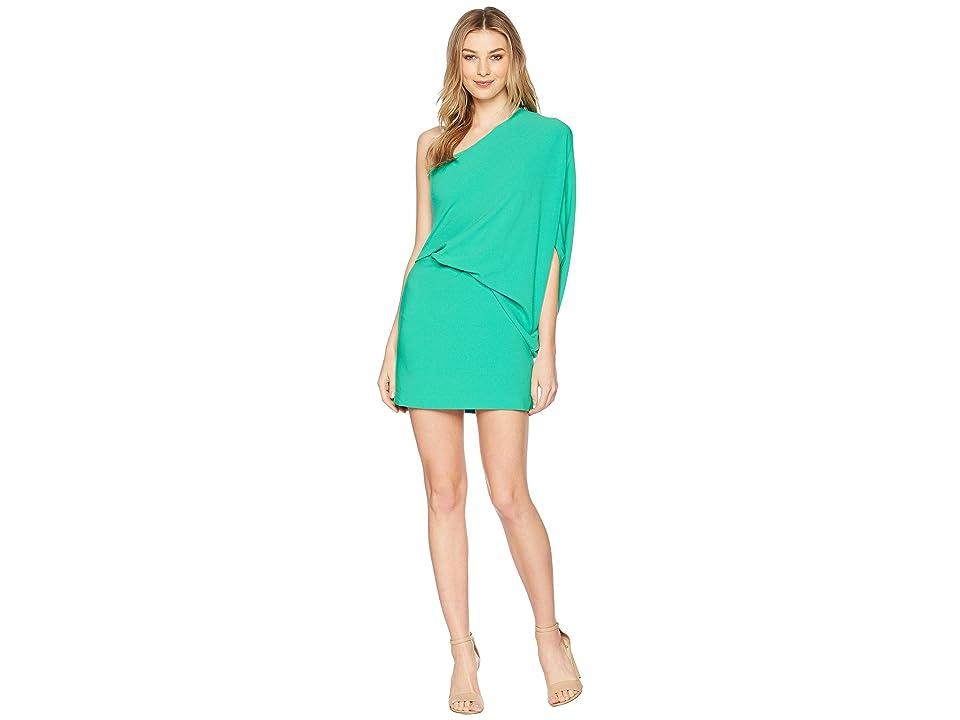 Halston Heritage One Shoulder Asymmetrical Sleeve Dress (Jade) Women