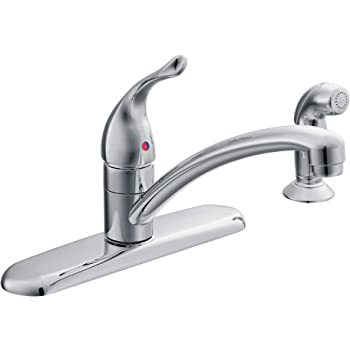 Moen 7430 Chateau One Handle Low Arc Kitchen Faucet With Side Sprayer Chrome Touch On Kitchen Sink Faucets Amazon Com