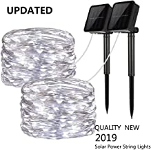 Upgraded Solar Powered String Lights, 2 Pack 8 Modes 50 LED Solar Fairy Lights Waterproof 16ft Silver Wire Lights Outdoor Garden String Lights for Home Patio Yard Party Decoration (Cool White)
