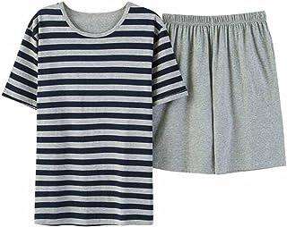 (チェリーレッド) CherryRed メンズ パジャマ 綿100% 半袖 パンツ 夏 快適な睡眠を 上下 セット 寝間着 丸襟 シンプル ボーダー柄 部屋着 リラックス L~XXXL
