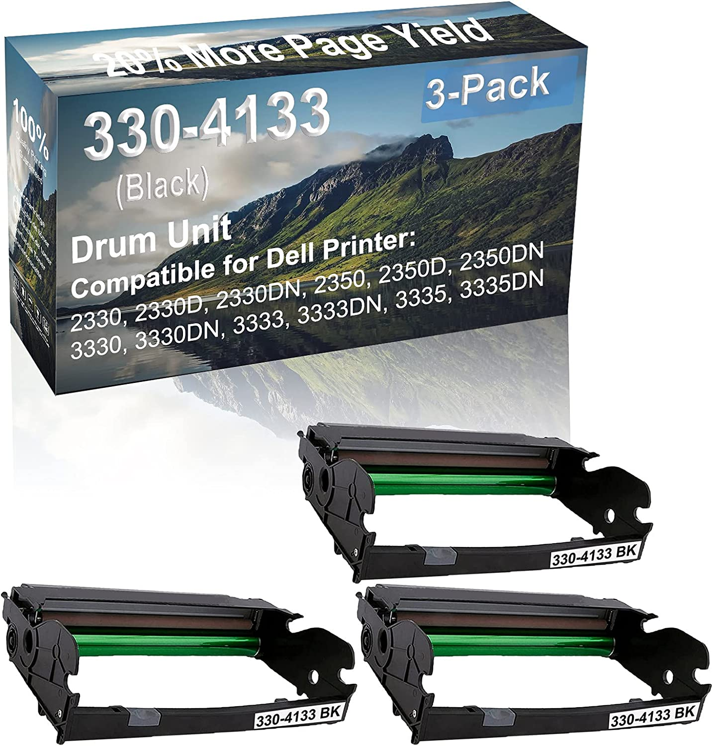 3-Pack Compatible 330-4133 Drum Kit use for Dell 2330, 2330D, 2330DN, 2350 Printer (Black)