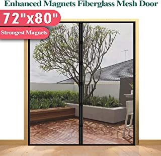 [Upgrade Version] Fiberglass Mesh Magnetic Screen Door Curtain, Mkicesky Double Patio Mesh Cover for French/Sliding Door with Full Frame Hook&Loop Fit Door Up to 70