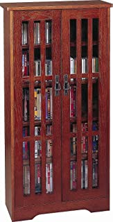 Leslie Dame High-Capacity Inlaid Glass Mission Style Multimedia Storage Cabinet, Walnut