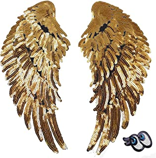 LoveInUSA Sequin Wings set, 2 PCS Sequins Patches Gold Angel Wings Wing Applique Iron On Wings Chanel Patches for Clothes Jackets Jeans Dress Hat DIY Accessory
