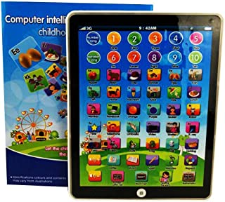 Keklle Kids Children Mini Imitative iPad Toy Intelligent Early Educational Learning Playing Tablet Toys Christmas Birthday Gift for Girls Boys Baby Letter Number Alphabet Learning Machine (Blue)