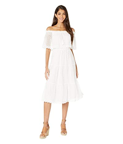 Cupcakes and Cashmere Contessa Embroidered Mesh Off the Shoulder Midi Dress (Marshmallow) Women