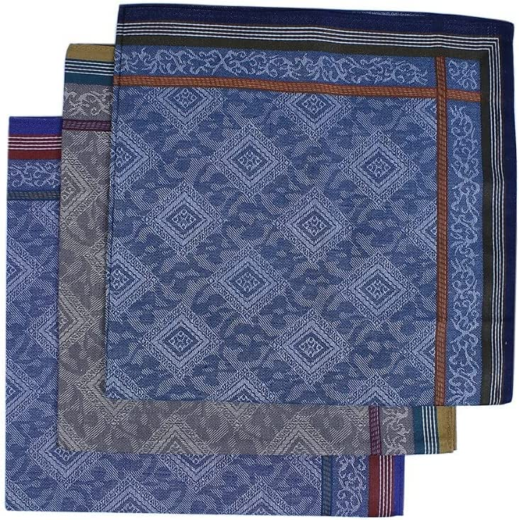 DIAOD 3 PCs Cotton Handkerchief for Men The New Year Gift Square Mixed Color Print Flower 43cm X 43cm