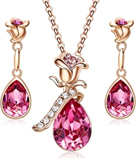 CDE Necklace for Women Jewelry Set 18K Rose Gold Plated...