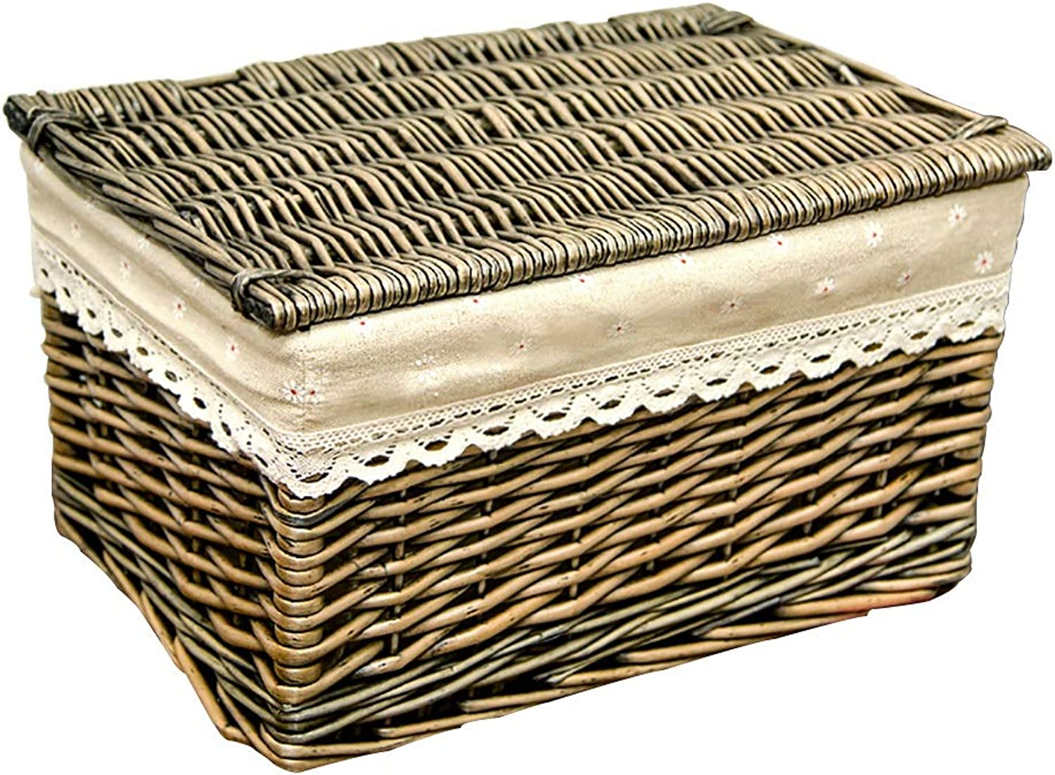 FANGFA Storage Baskets Wicker Hand Weaving Bedroom Clothes Toy Storage Box with lid (2 Sizes are Optional) (Size   LWH 37  26  21cm)