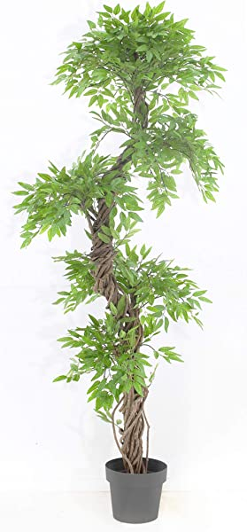 Chic Oriental Indoor Outdoor Quality Faux Japanese Spiral Tree Artificial Plants And Trees Handmade Using Real Bark Synthetic Leaves Approx 162cm Tall