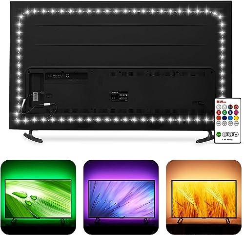 Bias Lighting 60 65 inch TV LED Strip Lights Backlight Kit - 14.4ft USB Powered RGBW 6500K White LED Light Strip with...