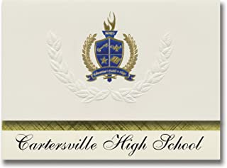 Signature Announcements Cartersville High School (Cartersville, GA) Graduation Announcements, Presidential style, Elite package of 25 with Gold & Blue Metallic Foil seal