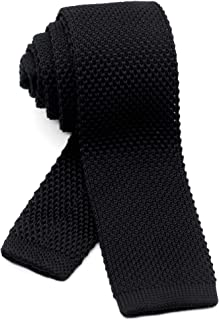 Men's Knit Tie Slim Skinny Square Necktie Width 2.2 inches Washable Solid Color