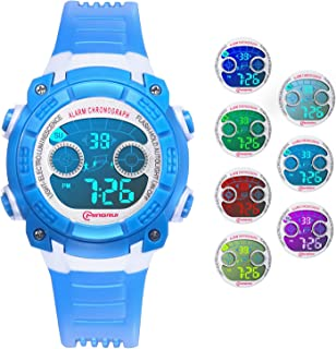 Kids Digital Watch, Watches for Boys Girls with 7 Colors Lights Sport Watch Waterproof Multifunctional Outdoor Wristwatches Kids with Alarm Stopwatch for Children 4-15 Years Old