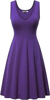 HUHOT Womens Sleeveless V Neck Dress with Pocket Summer Beach Midi Flared Tank Dress