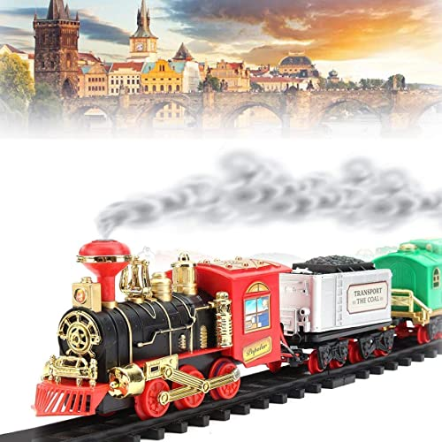 Shivaaro Kids Boys and Girls Express Train Toy Set with Locomotive Engine Light Cargo Car and Tracks Battery Powered