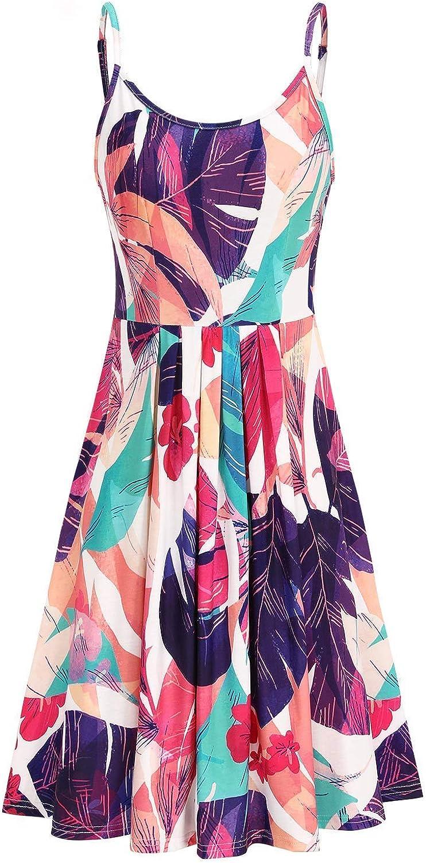 STYLEWORD Women's Round Neck Floral Spaghetti Strap Summer Dress Midi Swing Casual Sundress