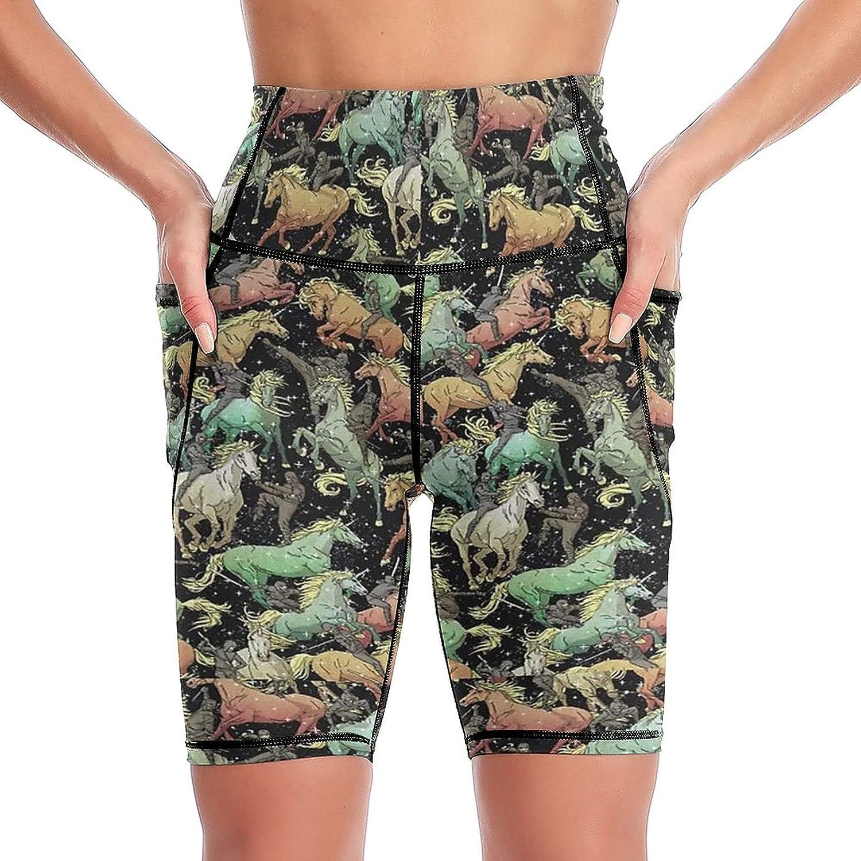 Kansas City Mall Ninjas+Unicorns Over item handling Women's Short Yoga Side High Worko Pockets Waist