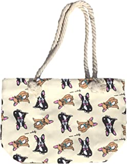 Canvas Tote Bag - Shoulder Tote, Perfect for School, Work, or the Beach. Large Compartment - Puppy and Dogs Theme 17 x 12 - Multiple Colours