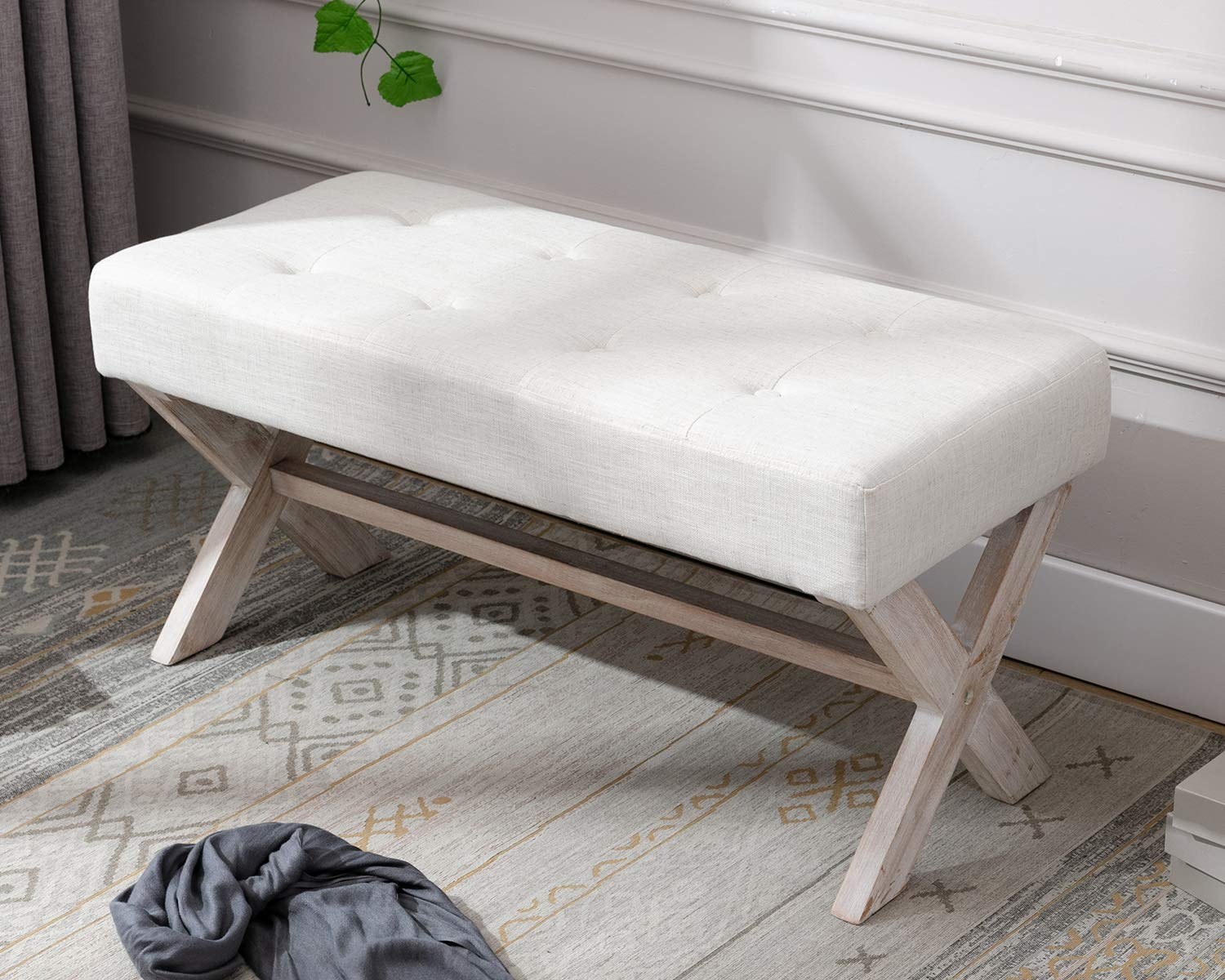 chairus Fabric Upholstered Entryway Bench Seat, 3 inch Bedroom Bench Seat  with X-Shaped Wood Legs for Living Room, Foyer or Hallway by - Light Beige