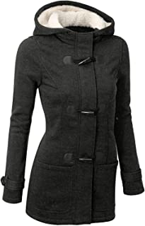 Womens Duffle Toggle Coat Long Wool Blended Hooded Pea Coat Jacket with Pockets