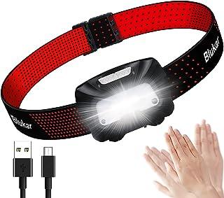 Linterna Frontal LED Recargable, Blukar COB Linterna Cabeza Recargable USB de 6 Modos, Super Brillante Con Modo de Inducci...