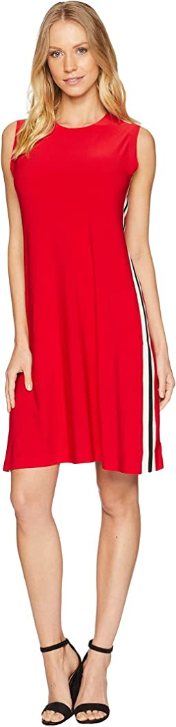 Side Stripe Sleeveless Swing Dress
