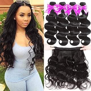 Flady Brazilian Virgin Hair Body Wave 10A Brazilian Hair Weaves 4 Bundles Virgin Human Hair Weaving Natural Black Color 95-100g/bundle (16 18 20 22inch)