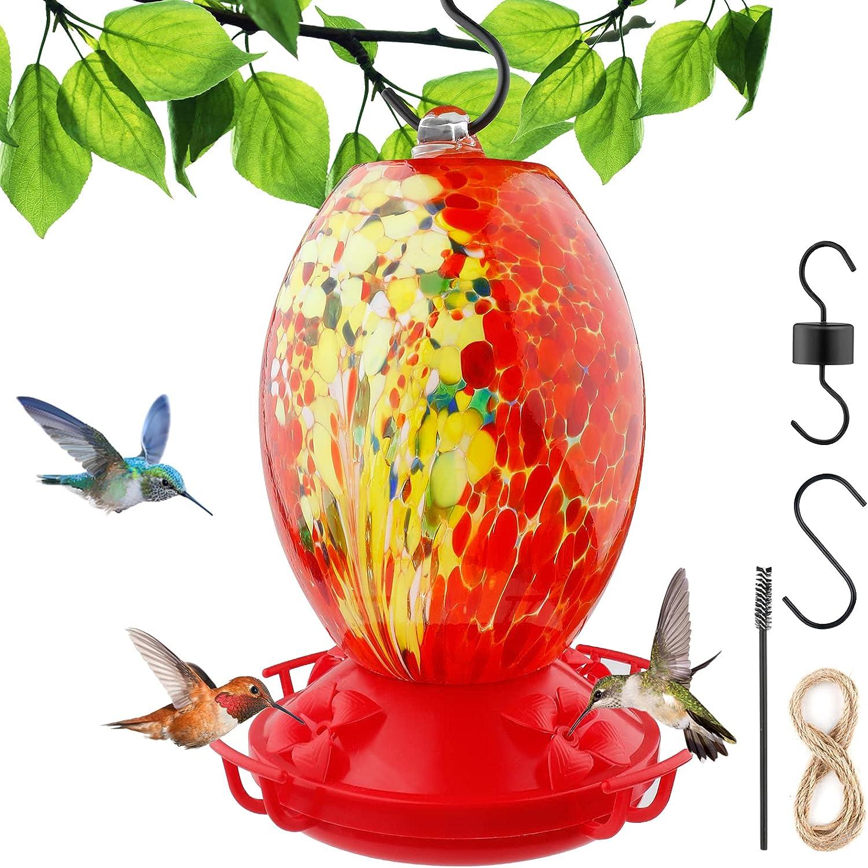 Hummingbird Feeder for Outdoors, Hummingbird Feeder, Hand Blown Glass, Never Fade, 38 Fluid Ounces Hummingbird Nectar, S-Hook, Ant Moat, Brush and Hemp Rope Included
