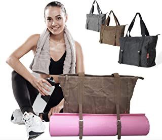 LUCKAYA Yoga Mat Bag/Tote Bag : Waxed Canvas Multi Purpose Carryall Bag for Office,Yoga,Travel and Gym! Carry Your Mat of Any Size,Laptop and Gear in One Bag!