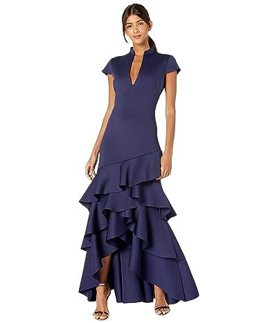 Badgley Mischka Asymmetrical Ruffle Gown (Sapphire) Women