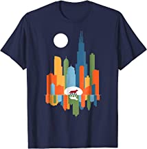 Chicago Illinois Skyline Color Modern Souvenir Gift T-Shirt