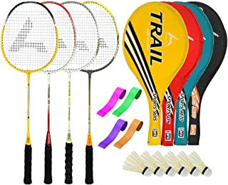 Guru TrailBR06 Series-COMBO-3 Badminton Racquets Set Pack of Four With Four Cover Six Shuttlecock & Four Hand Grip Size 27 inch