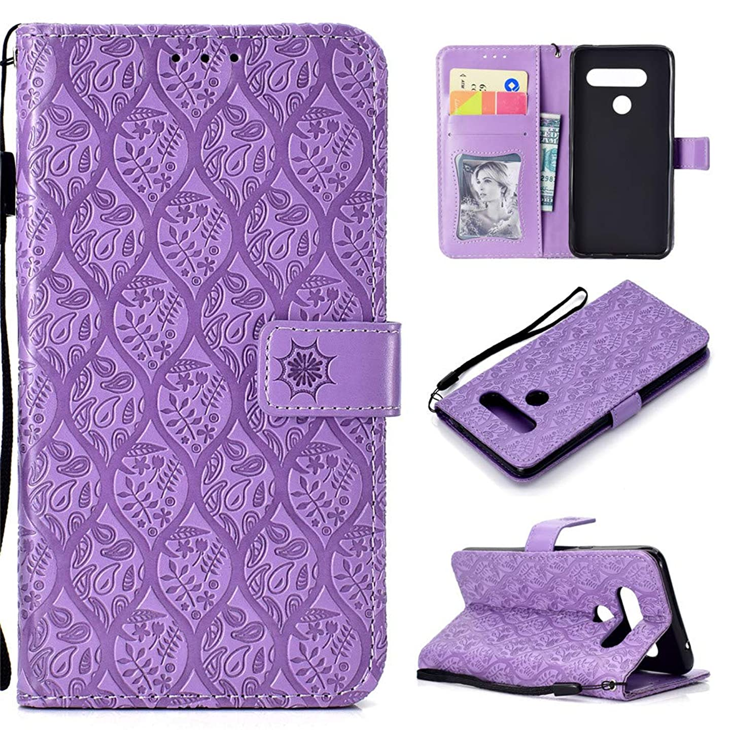 LG V40 ThinQ Case, LG V40 Wallet Case,MEUPZZK Flip PU Leather Protective Case,[Magnetic Closure],Kickstand with Card Slots and Wrist Strap for LG V40 / V40 ThinQ (Purple)