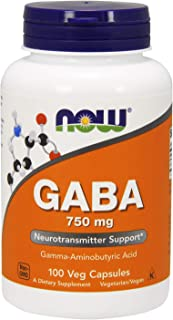 NOW Supplements, GABA (Gamma-Aminobutyric Acid)750mg, 100 Veg Capsules
