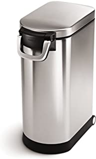 simplehuman X-Large Pet Food Storage Can, Brushed Stainless Steel, 35 L, 40 lb / 18.1 kg