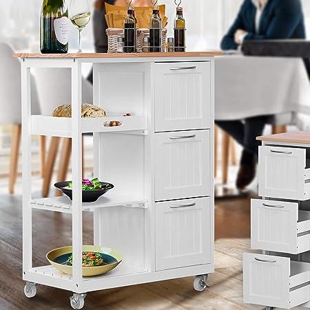 Miadomodo® Chariot de Cuisine à roulettes - en Bois, 67 x 37 x 87,5 cm, avec 3 Tiroirs et 3 Étagères, Blanc - Desserte Roulante, Meuble de Rangement, Plan de Travail