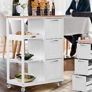 Miadomodo® Chariot de Cuisine à roulettes - en Bois, 67 x 37 x 87,5 cm, avec 3 Tiroirs et 3 Étagères, Blanc - Desserte Rou...
