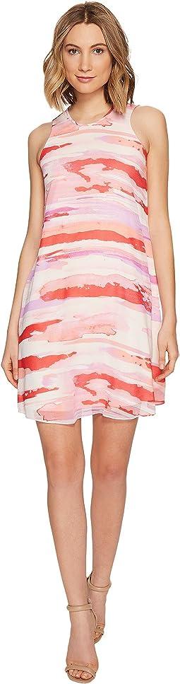 Sleeveless Printed Trapiz Dress