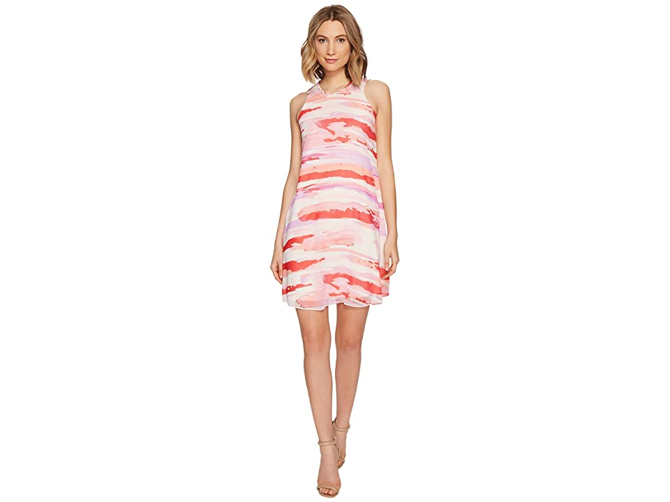 Calvin Klein Sleeveless Printed Trapiz Dress (Watermelon Multi) Women