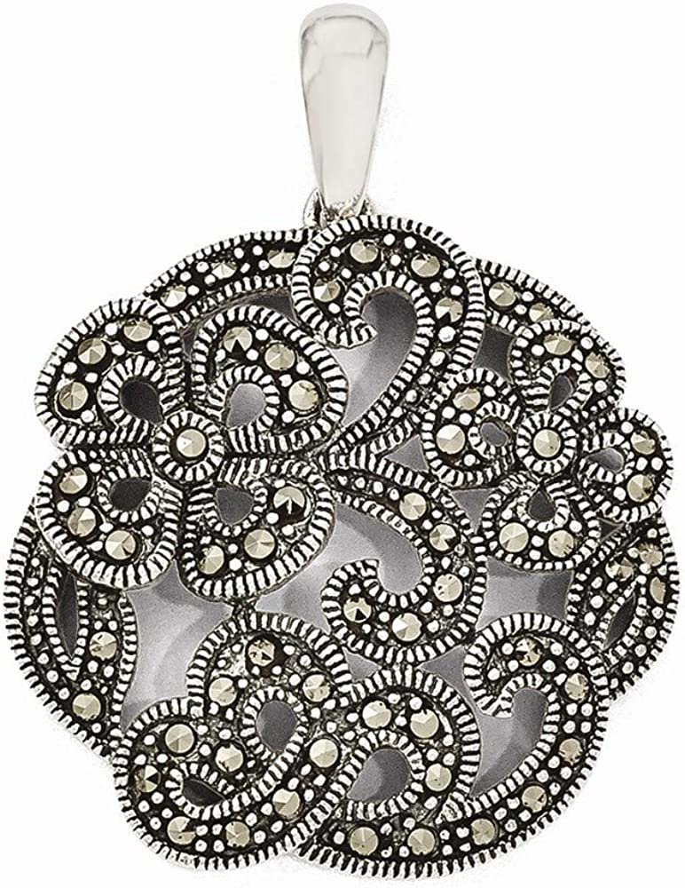 925 Sale Sterling Silver Marcasite With Same day shipping Necklace Jewe Flowers Pendant