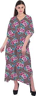 RADANYA Women Kaftan 3/4 Sleeve Cotton Floral Beach Cover Up Caftan Dress