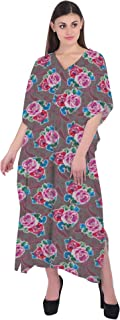 RADANYA Women Kaftan 3/4 Sleeve Cotton Floral Beach Cover Up Caftan Dress