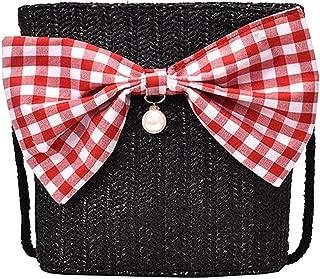 Rattan Woven Women Handbag Summer Beach Bag Tote Bag Handmade Black Bow Straw Crossbody Bags For Women Sac Plage